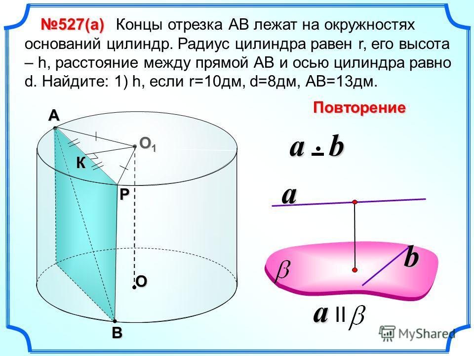 Концы отрезка АВ лежат на окружностях оснований цилиндр. Радиус цилиндра равен r, его высота – h, расстояние между прямой АВ и осью цилиндра равно d. Найдите: 1) h, если r=10дм, d=8дм, АВ=13дм. O O1O1O1O1В А Р К 527(а) a a II a b a b Повторение