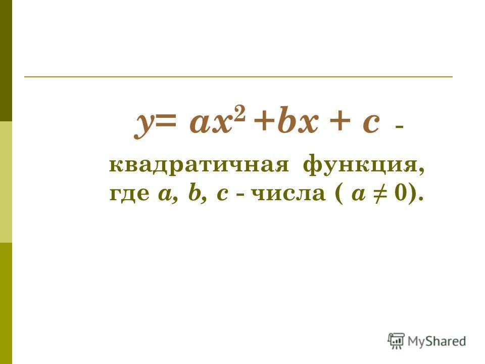 y = ax 2 + bx + c - квадратичная функция, где a, b, c - числа ( а 0).
