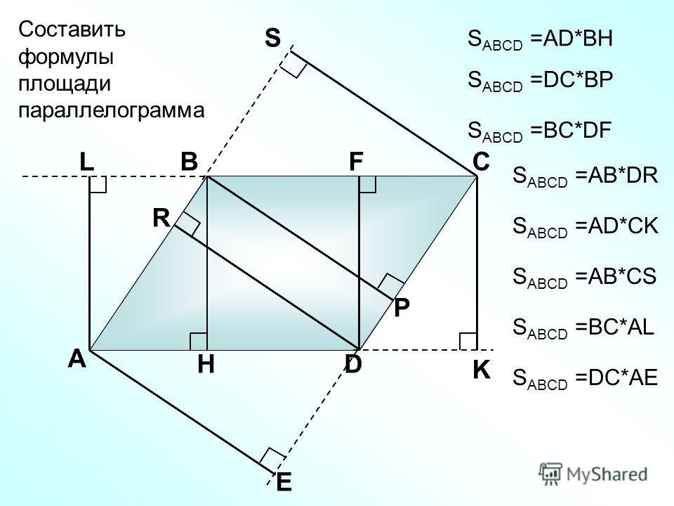 А ВС D H K Составить формулы площади параллелограмма Р S FL R E S ABCD =АD*BH S ABCD =DC*BP S ABCD =AB*DR S ABCD =BC*DF S ABCD =AD*CK S ABCD =AB*CS S ABCD =BC*AL S ABCD =DC*AE