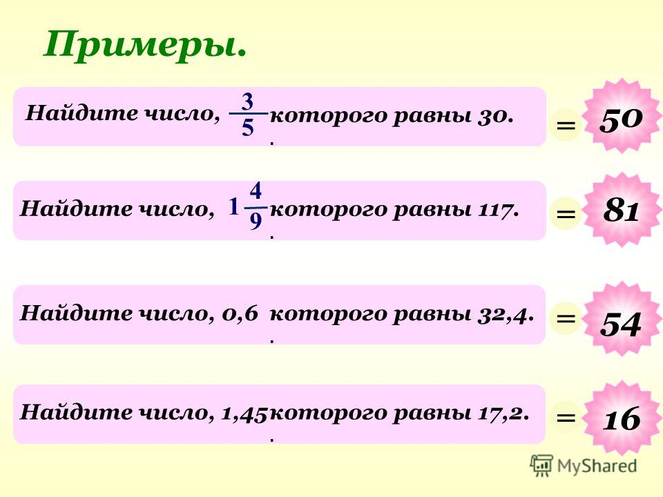 3 5 Найдите число, которого равны 30.. Примеры. = 50 4 9 Найдите число,которого равны 117.. 1 = 81 Найдите число, 0,6которого равны 32,4.. = 54 Найдите число, 1,45которого равны 17,2.. = 16