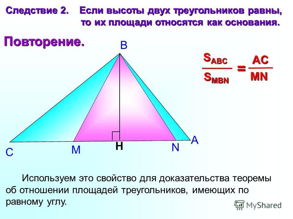 М N А В С Следствие 2. Если высоты двух треугольников равны, то их площади относятся как основания. то их площади относятся как основания. H S MBN S ABC = MN AC Используем это свойство для доказательства теоремы об отношении площадей треугольников, и