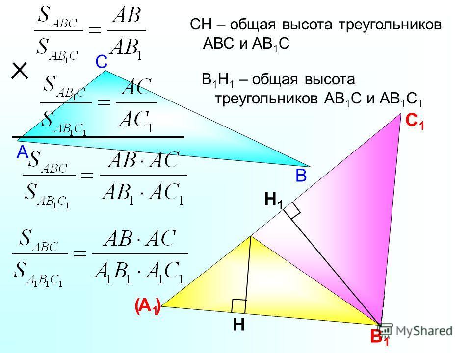 А1А1 В1В1 С1С1 СН – общая высота треугольников АВС и АВ 1 С ( ) В С А Н В 1 Н 1 – общая высота треугольников АВ 1 С и АВ 1 С 1 Н1Н1