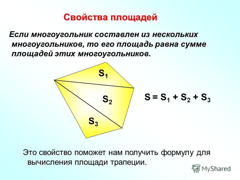 Свойства площадей Свойства площадей Если многоугольник составлен из нескольких многоугольников, то его площадь равна сумме площадей этих многоугольников. Это свойство поможет нам получить формулу для вычисления площади трапеции. S1S1 S2S2 S3S3 S = S