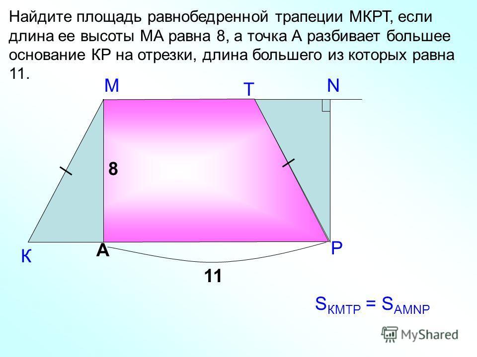 М К Найдите площадь равнобедренной трапеции МКРТ, если длина ее высоты МА равна 8, а точка А разбивает большее основание КР на отрезки, длина большего из которых равна 11. А Т Р 8 11 N S КМТР = S АМNP