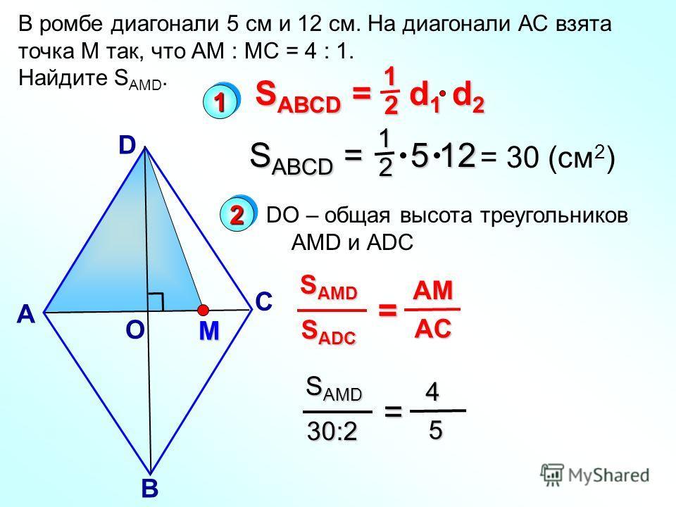 В ромбе диагонали 5 см и 12 см. На диагонали АС взята точка М так, что АМ : МС = 4 : 1. Найдите S AMD. А D С В О M S ABCD = d 1 d 2 12 S ABCD = 5 12 12 = 30 (cм 2 ) S ADC S AMD = AC AC AM DO – общая высота треугольников АMD и АDС 30:2 S AMD = 5 4 11