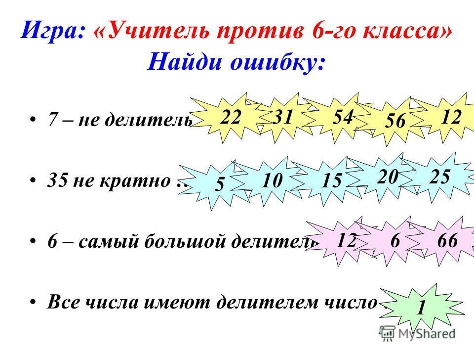 Игра: «Учитель против 6-го класса» Найди ошибку: 7 – не делитель … 35 не кратно … 6 – самый большой делитель … Все числа имеют делителем число … 3154 56 1222 5 1015 2025 12666 101