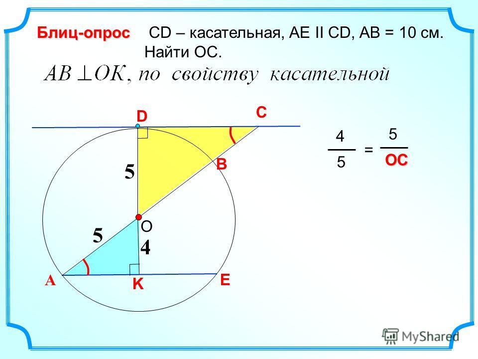 C СD – касательная, AE II CD, AB = 10 см. Найти ОС.Блиц-опрос 4 А D О B K E 5 5 4 5 = 5OC