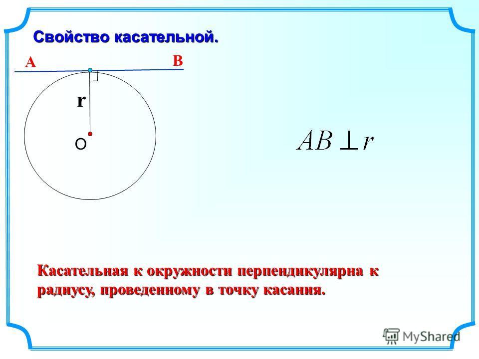 Свойство касательной. О r Касательная к окружности перпендикулярна к радиусу, проведенному в точку касания. А В