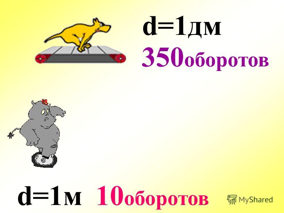 d=1м d=1дм 10 оборотов 350 оборотов