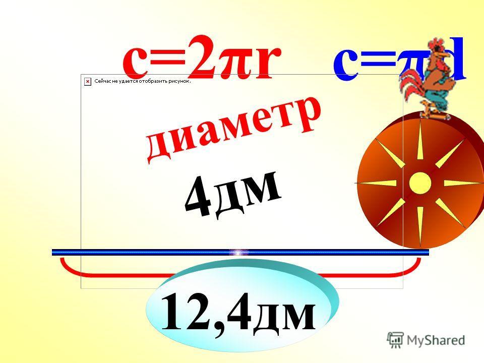 ? диаметр 4дм с=2πr c=πd 12,4дм