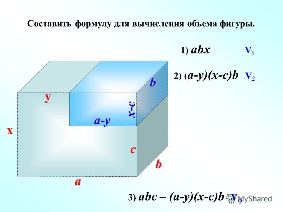 Составить формулу для вычисления объема фигуры. y c x a b 1) abx V 1 2) ( a-y)(x-c)b V 2 a-y x-cb 3) abc – (a-y)(x-c)b V ф