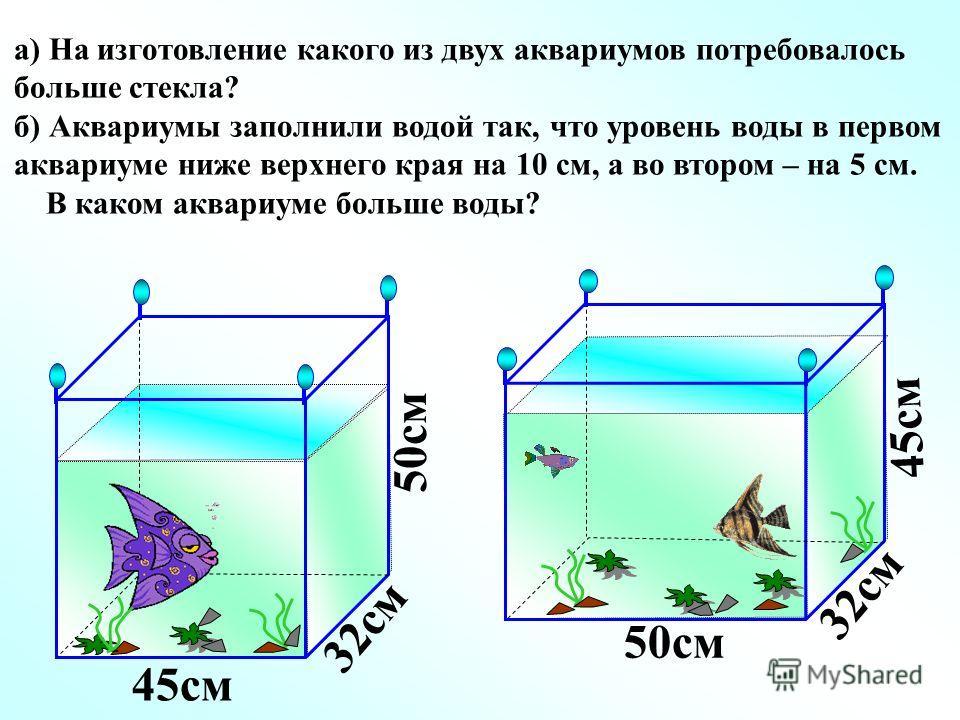 а) На изготовление какого из двух аквариумов потребовалось больше стекла? б) Аквариумы заполнили водой так, что уровень воды в первом аквариуме ниже верхнего края на 10 см, а во втором – на 5 см. В каком аквариуме больше воды? 45см 50см 32см