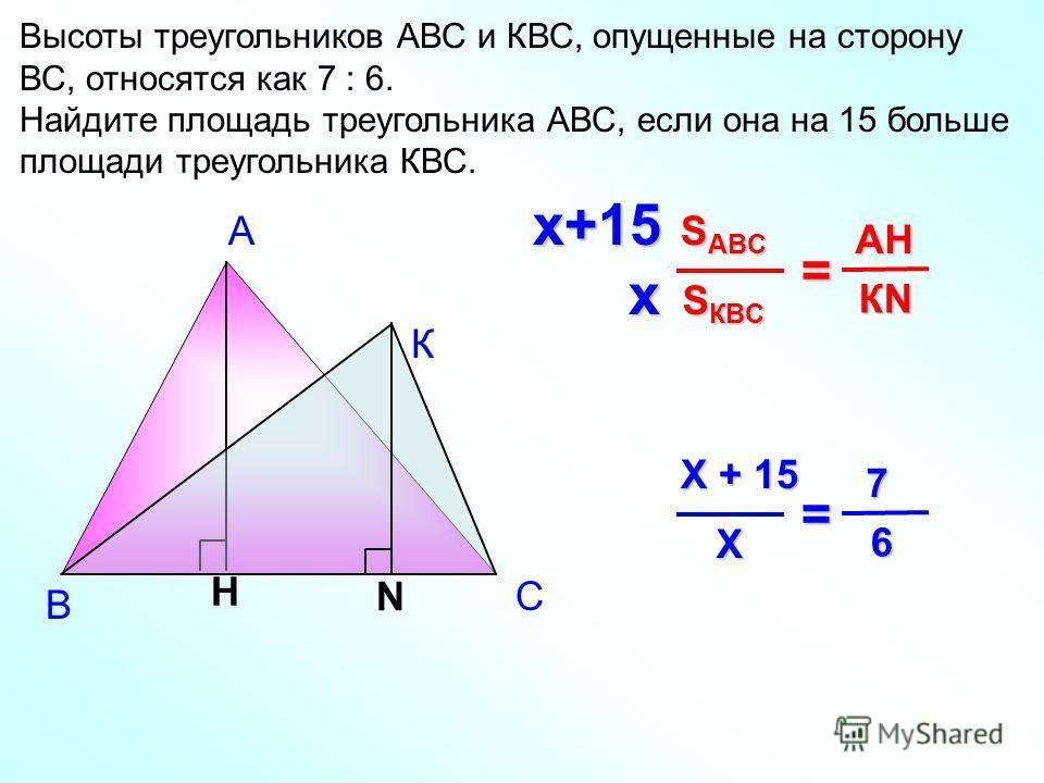 А В Высоты треугольников АВС и КВС, опущенные на сторону ВС, относятся как 7 : 6. Найдите площадь треугольника АВС, если она на 15 больше площади треугольника КВС. H S КВC S ABC = КN КN КN КN АHАHАHАH К N С х+15 х Х Х + 15 = 6 7