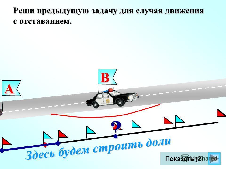 Здесь будем строить доли Показать (2) Реши предыдущую задачу для случая движения с отставанием. В ? А