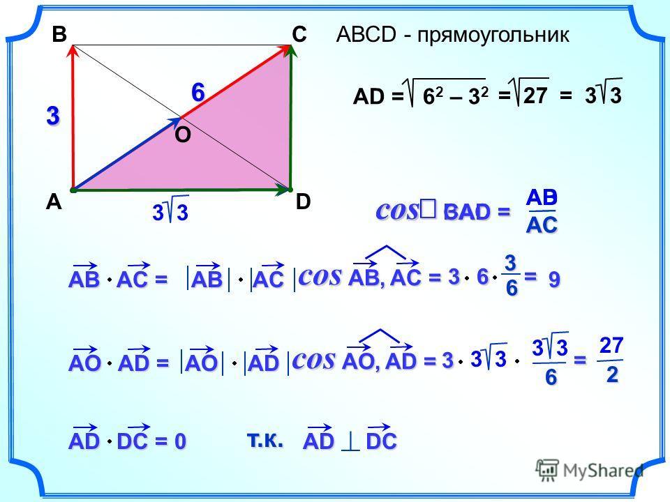 АВСD - прямоугольник A BC D 3 6 AВ АC = AО АD = AD DC = AB AC AB, AC = cos 9 O 3 6 = 63 = 27 3 3 AО AD AO, AD = cos 3 = 3 6 2 270 AD DC т.к. AD = 6 2 – 3 2 = 3 3 BAC = BAC = cos AC AB CAD = CAD = cos AC AD