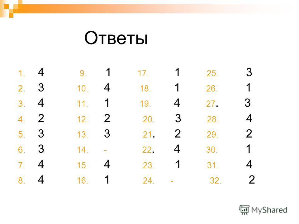 Ответы 1. 4 9. 1 17. 1 25. 3 2. 3 10. 4 18. 1 26. 1 3. 4 11. 1 19. 4 27. 3 4. 2 12. 2 20. 3 28. 4 5. 3 13. 3 21. 2 29. 2 6. 3 14. - 22. 4 30. 1 7. 4 15. 4 23. 1 31. 4 8. 4 16. 1 24. - 32. 2