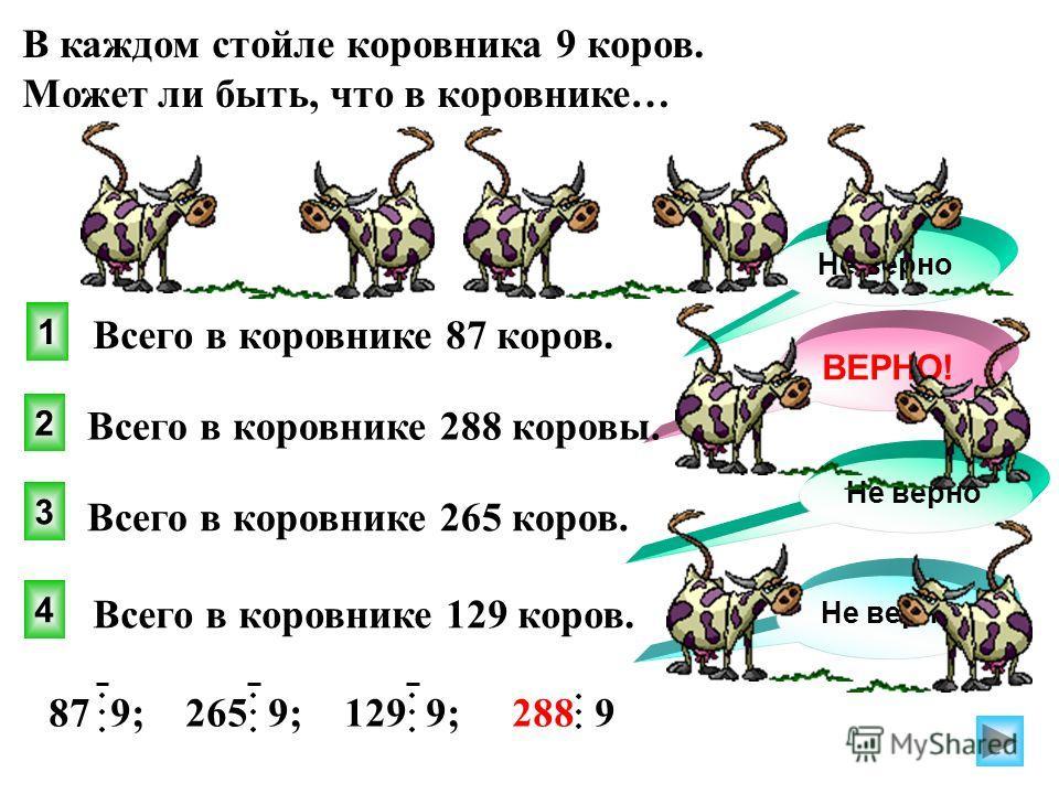 В каждом стойле коровника 9 коров. Может ли быть, что в коровнике… 4 1 2 3 Не верно Всего в коровнике 87 коров. ВЕРНО! Не верно Всего в коровнике 288 коровы. Всего в коровнике 265 коров. Всего в коровнике 129 коров. 87 9; 265 9; 129 9; 288 9
