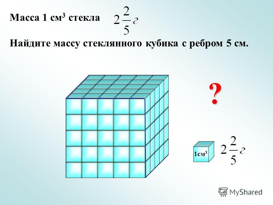 Масса 1 см 3 стекла Найдите массу стеклянного кубика с ребром 5 см. ? 1см 3
