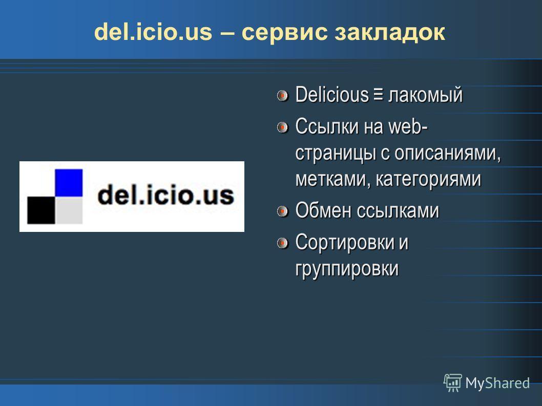 del.icio.us – сервис закладок Delicious лакомый Ссылки на web- страницы с описаниями, метками, категориями Обмен ссылками Сортировки и группировки