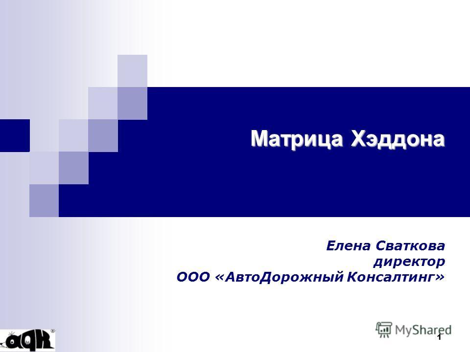 1 Матрица Хэддона Елена Сваткова директор ООО «АвтоДорожный Консалтинг»