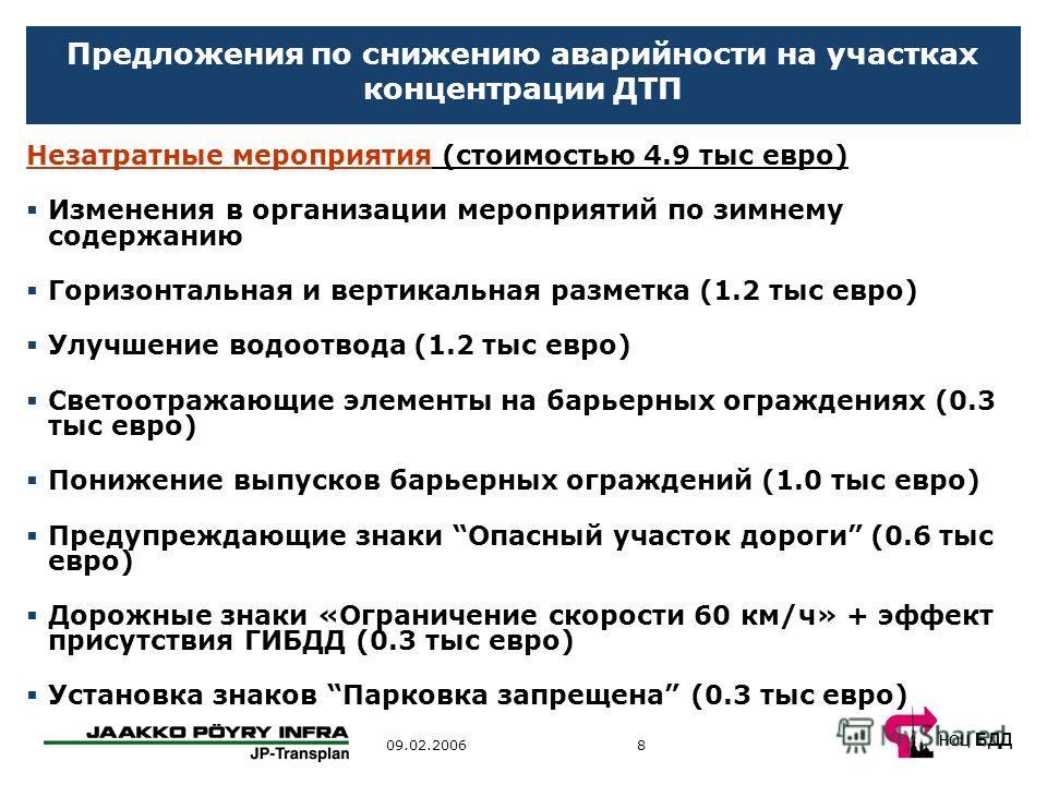 НОЦ БДД 809.02.2006 Предложения по снижению аварийности на участках концентрации ДТП Незатратные мероприятия (стоимостью 4.9 тыс евро) Изменения в организации мероприятий по зимнему содержанию Горизонтальная и вертикальная разметка (1.2 тыс евро) Улу