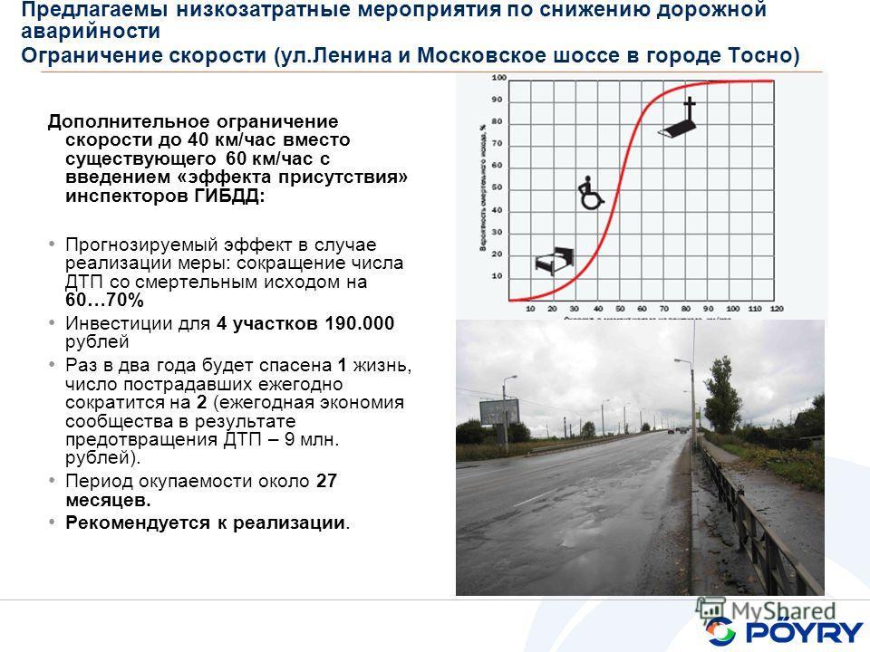 Предлагаемы низкозатратные мероприятия по снижению дорожной аварийности Ограничение скорости (ул.Ленина и Московское шоссе в городе Тосно) Дополнительное ограничение скорости до 40 км/час вместо существующего 60 км/час с введением «эффекта присутстви