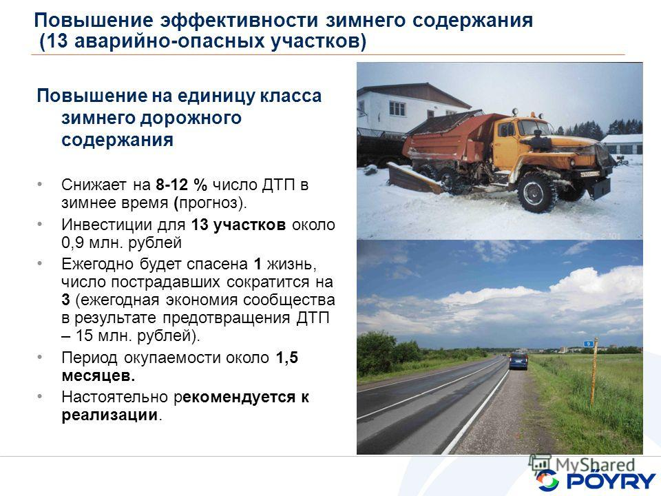 Повышение эффективности зимнего содержания (13 аварийно-опасных участков) Babino-2 Повышение на единицу класса зимнего дорожного содержания Снижает на 8-12 % число ДТП в зимнее время (прогноз). Инвестиции для 13 участков около 0,9 млн. рублей Ежегодн