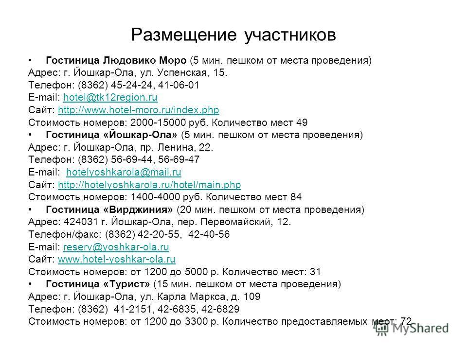 Размещение участников Гостиница Людовико Моро (5 мин. пешком от места проведения) Адрес: г. Йошкар-Ола, ул. Успенская, 15. Телефон: (8362) 45-24-24, 41-06-01 E-mail: hotel@tk12region.ruhotel@tk12region.ru Сайт: http://www.hotel-moro.ru/index.phphttp: