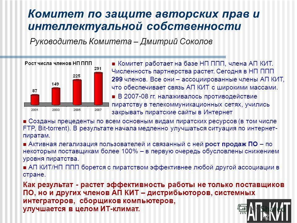 Комитет по защите авторских прав и интеллектуальной собственности Руководитель Комитета – Дмитрий Соколов Созданы прецеденты по всем основным видам пиратских ресурсов (в том числе FTP, Bit-torrent). В результате начала медленно улучшаться ситуация по