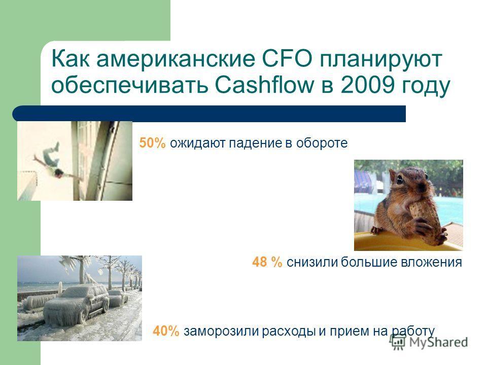 Как американские CFO планируют обеспечивать Cashflow в 2009 году 50% ожидают падение в обороте 40% заморозили расходы и прием на работу 48 % снизили большие вложения