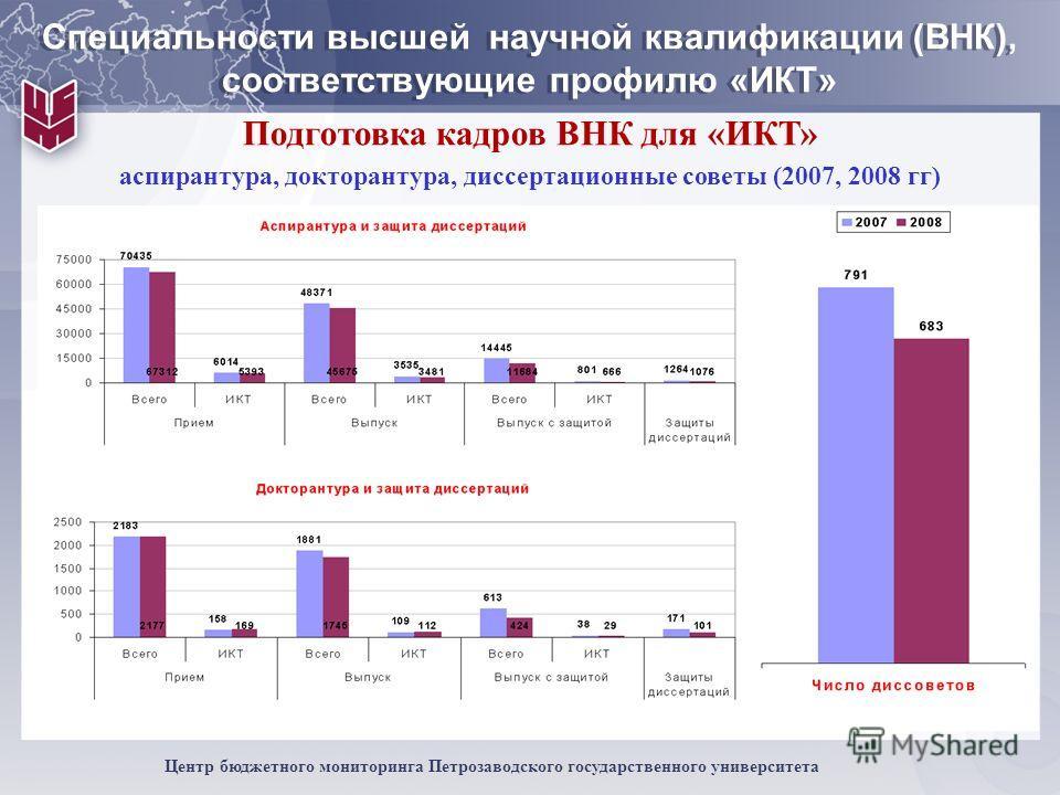 9 Центр бюджетного мониторинга Петрозаводского государственного университета Специальности высшей научной квалификации (ВНК), соответствующие профилю «ИКТ» Подготовка кадров ВНК для «ИКТ» аспирантура, докторантура, диссертационные советы (2007, 2008