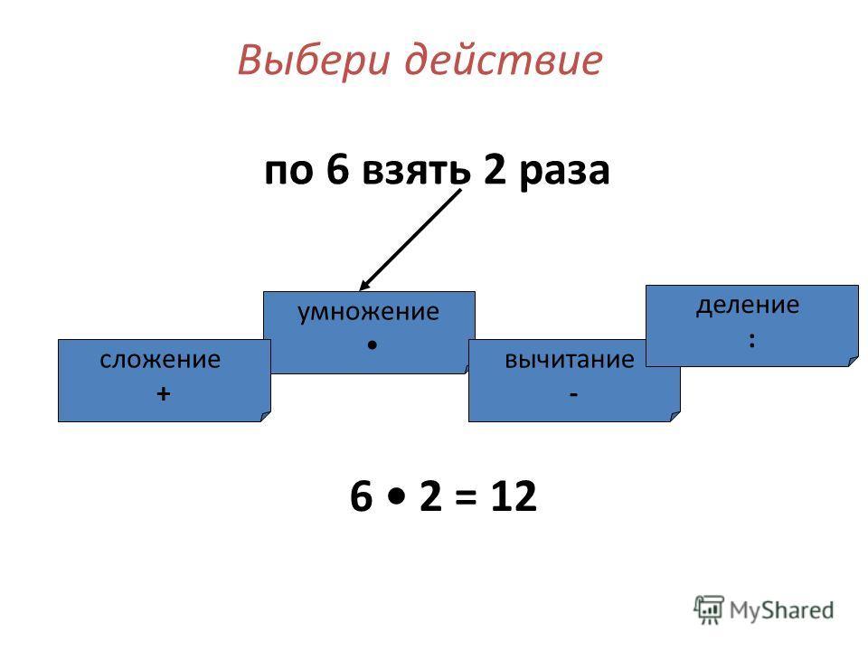 Выбери действие по 6 взять 2 раза умножение сложение + вычитание - деление : 6 2 = 12