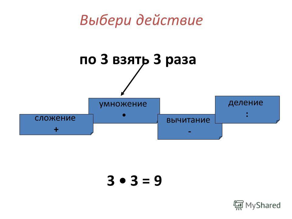 умножение сложение + вычитание - деление : Выбери действие по 3 взять 3 раза 3 3 = 9