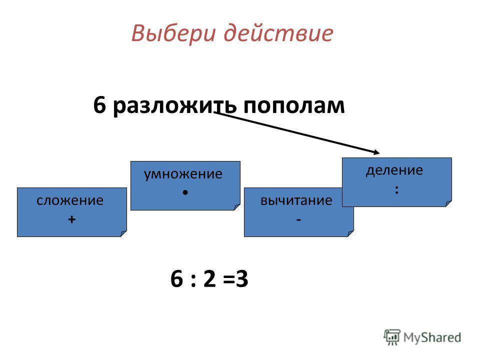 умножение сложение + вычитание - деление : Выбери действие 6 разложить пополам 6 : 2 =3