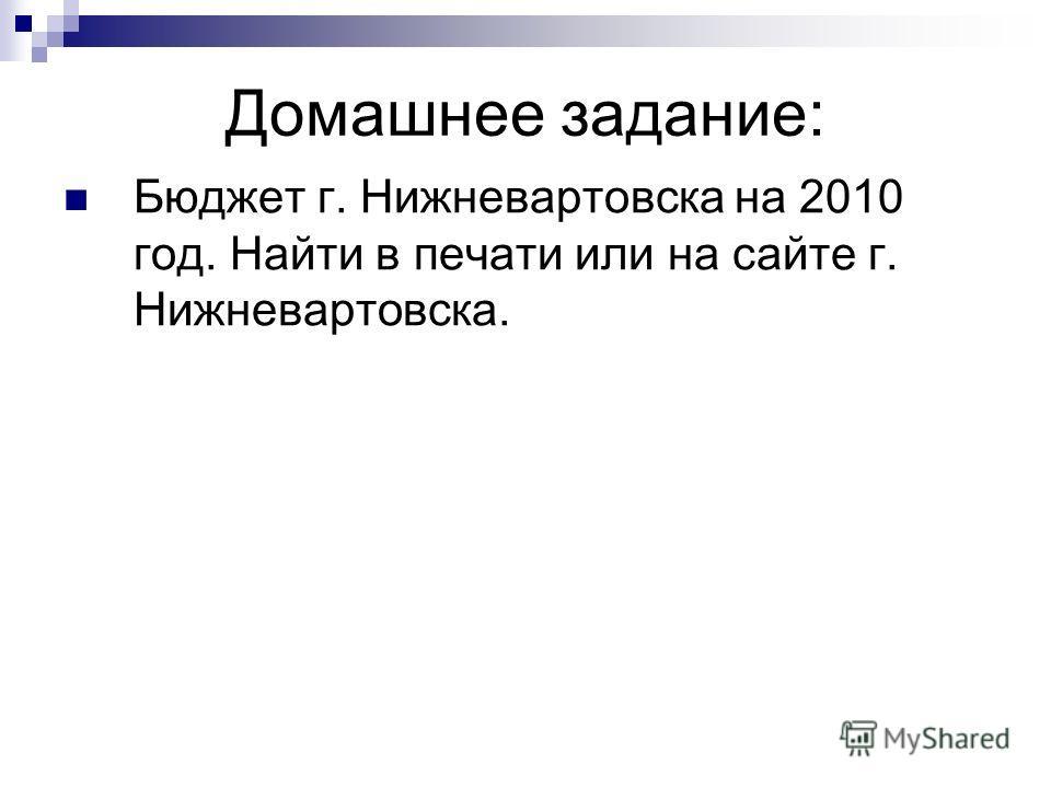Домашнее задание: Бюджет г. Нижневартовска на 2010 год. Найти в печати или на сайте г. Нижневартовска.