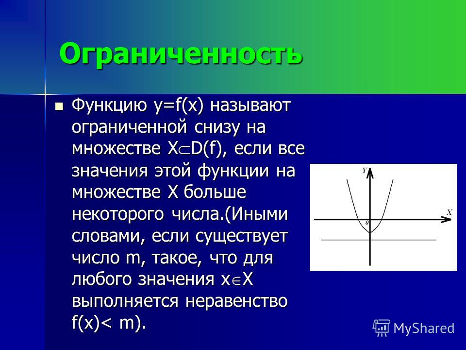 Ограниченность Функцию y=f(x) называют ограниченной снизу на множестве X D(f), если все значения этой функции на множестве X больше некоторого числа.(Иными словами, если существует число m, такое, что для любого значения x X выполняется неравенство f