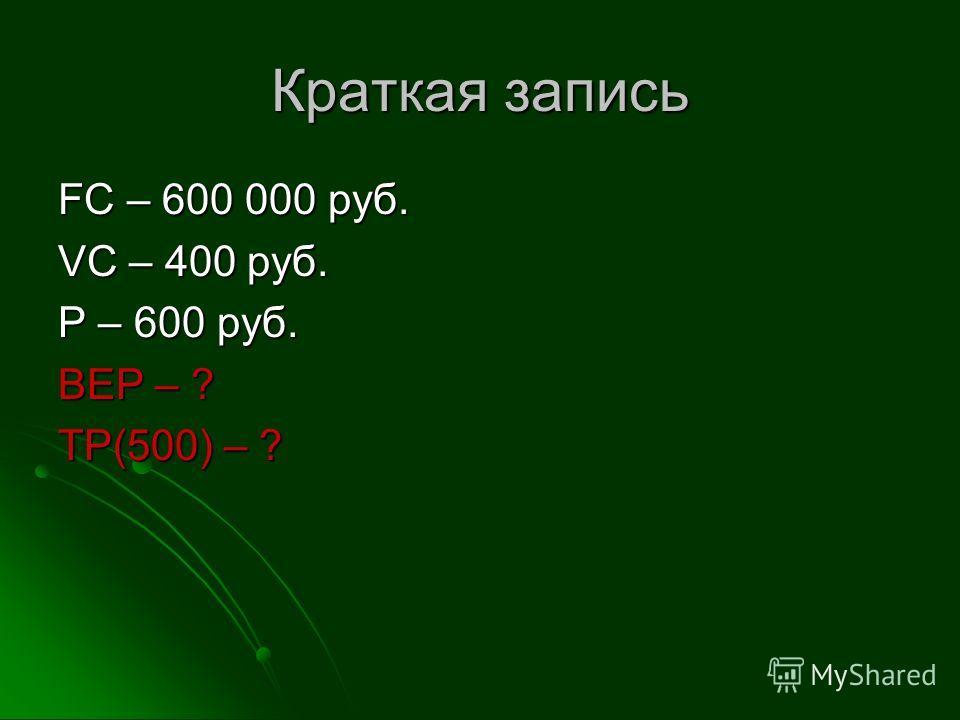 Краткая запись FC – 600 000 руб. VC – 400 руб. P – 600 руб. BEP – ? TP(500) – ?