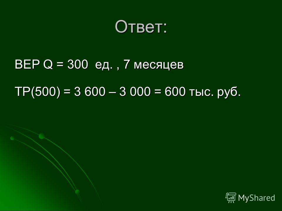 Ответ: BEP Q = 300 ед., 7 месяцев TP(500) = 3 600 – 3 000 = 600 тыс. руб.