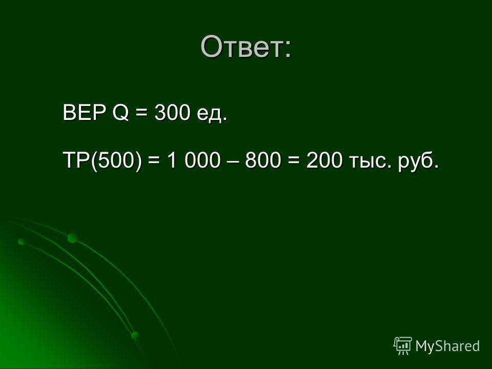 Ответ: BEP Q = 300 ед. TP(500) = 1 000 – 800 = 200 тыс. руб.