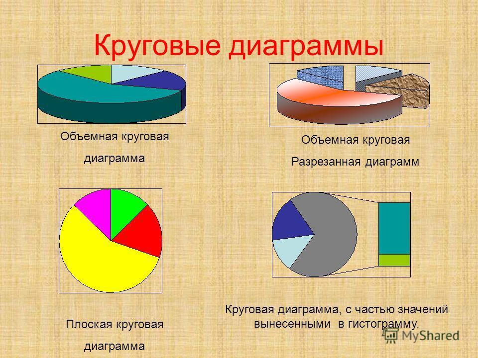 Круговые диаграммы Объемная круговая диаграмма Объемная круговая Разрезанная диаграмм Плоская круговая диаграмма Круговая диаграмма, с частью значений вынесенными в гистограмму.