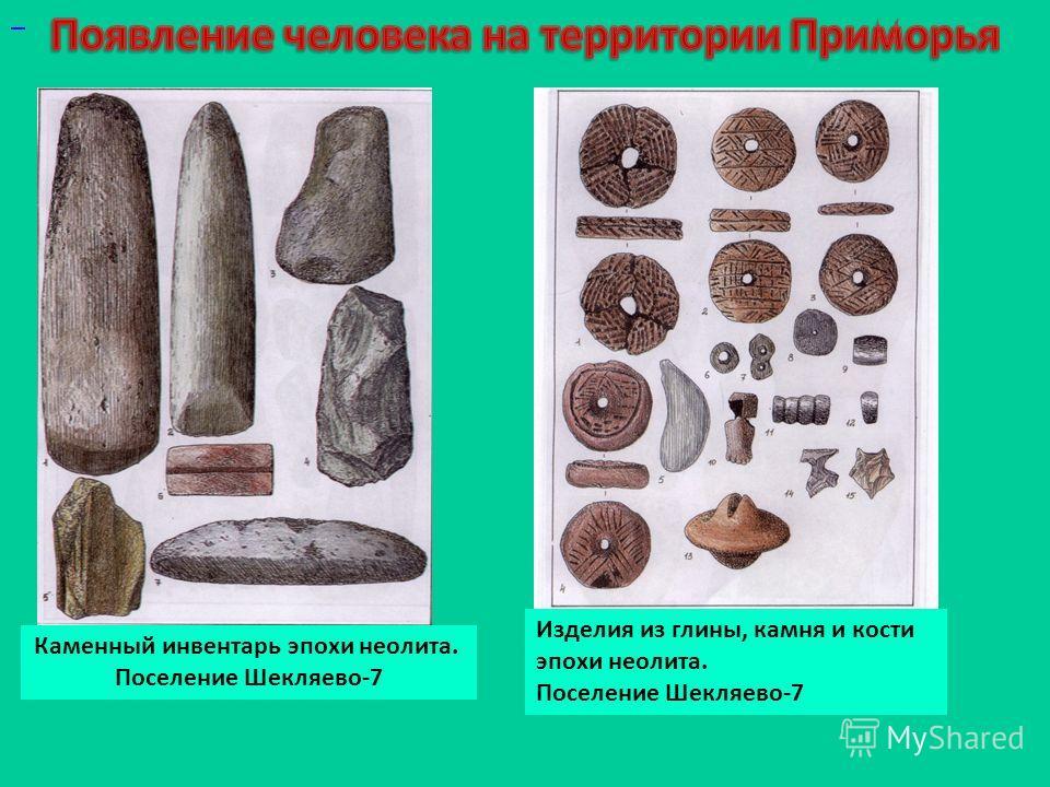 Каменный инвентарь эпохи неолита. Поселение Шекляево-7 Изделия из глины, камня и кости эпохи неолита. Поселение Шекляево-7