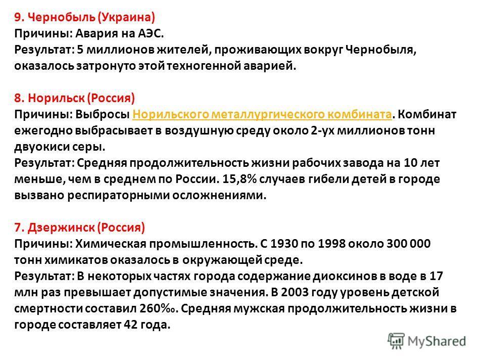 9. Чернобыль ( Украина ) Причины : Авария на АЭС. Результат : 5 миллионов жителей, проживающих вокруг Чернобыля, оказалось затронуто этой техногенной аварией. 8. Норильск ( Россия ) Причины : Выбросы Норильского металлургического комбината. Комбинат