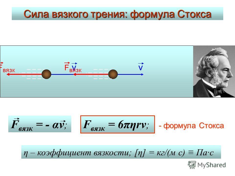 Сила вязкого трения: формула Стокса v F вязк v F вязк = - αv ; F вязк = 6πηrv ; η – коэффициент вязкости; [η] = кг/(м с) Па·c - формула Стокса