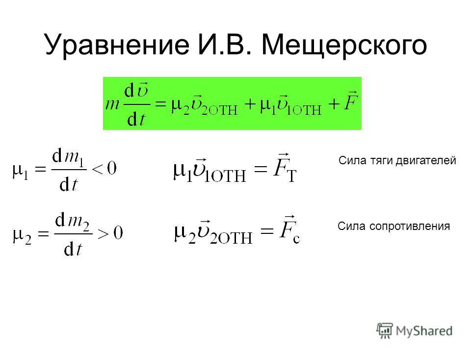 Уравнение И.В. Мещерского Сила тяги двигателей Сила сопротивления