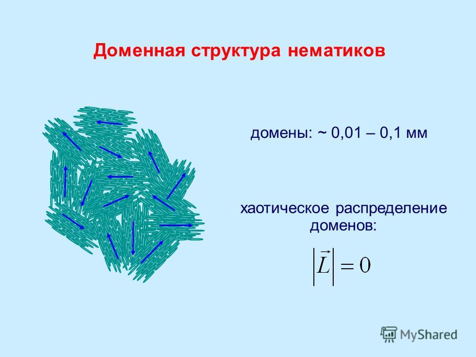 домены: ~ 0,01 – 0,1 мм хаотическое распределение доменов: Доменная структура нематиков