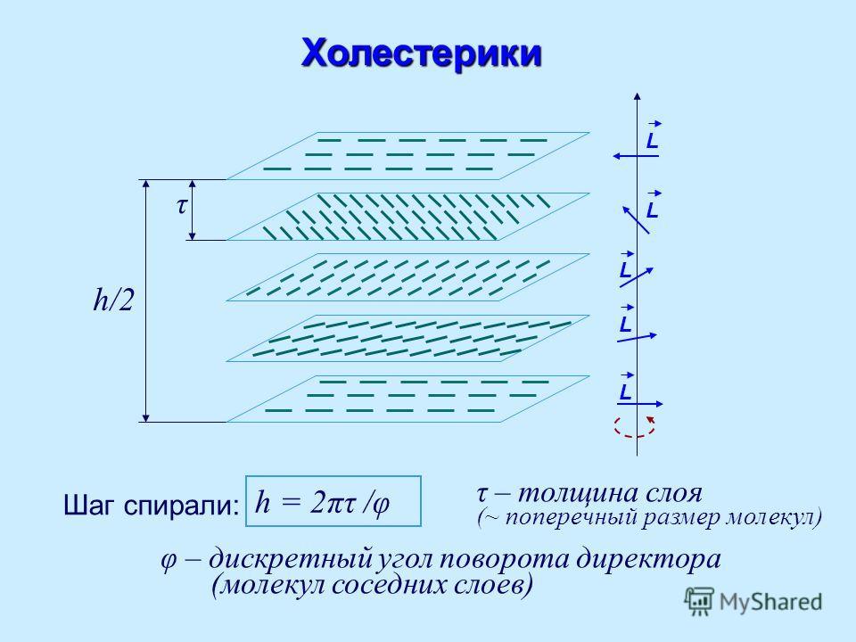 L L L LХолестерики Шаг спирали: h = 2πτ /φ τ – толщина слоя (~ поперечный размер молекул) φ – дискретный угол поворота директора (молекул соседних слоев) h/2 τ L