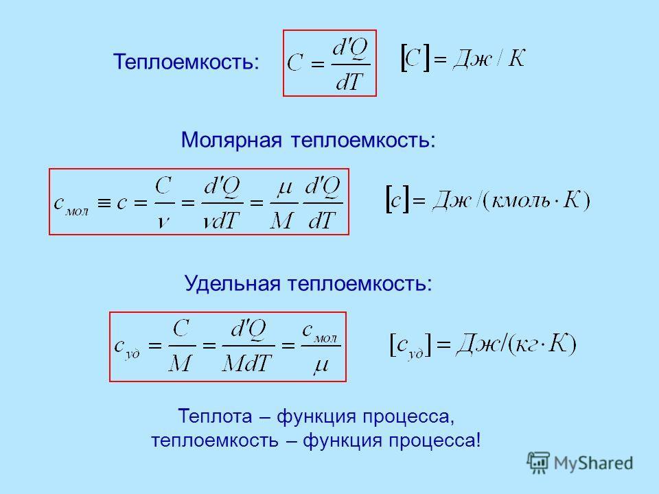 Теплоемкость: Молярная теплоемкость: Удельная теплоемкость: Теплота – функция процесса, теплоемкость – функция процесса!