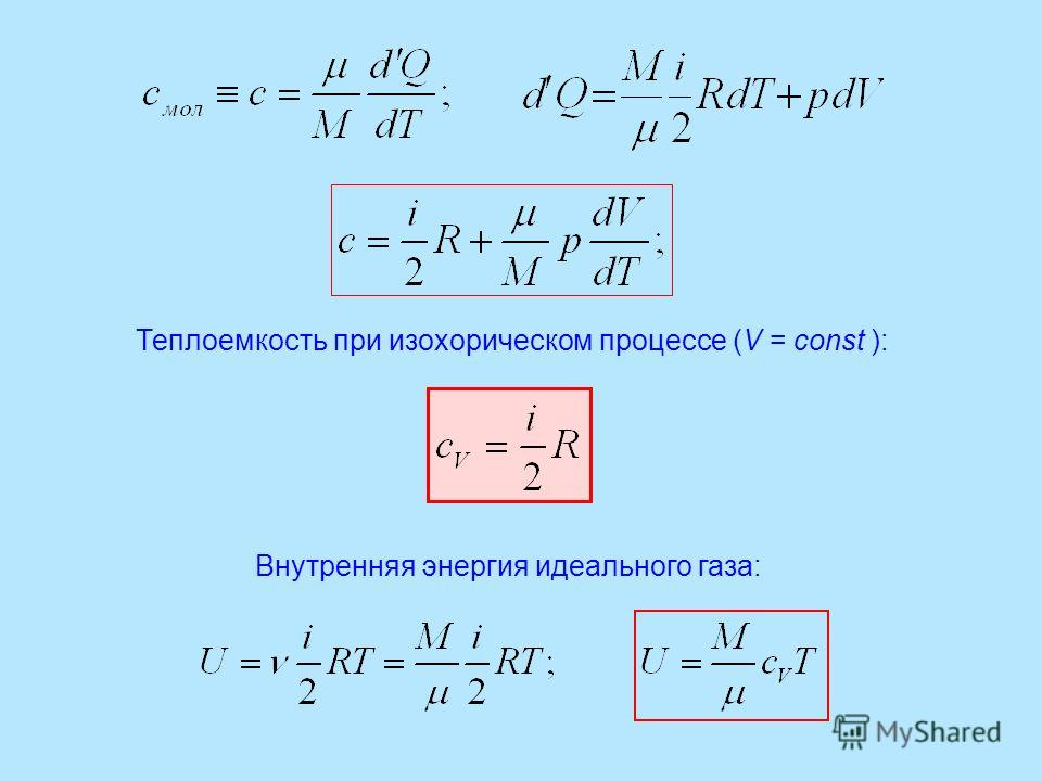 Теплоемкость при изохорическом процессе (V = const ): Внутренняя энергия идеального газа: