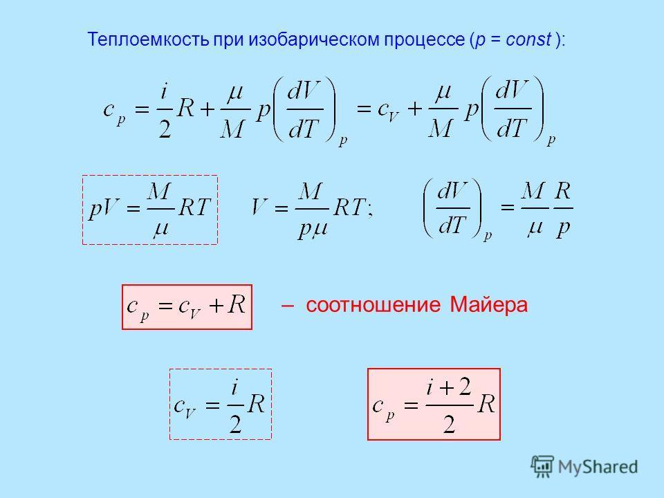 Теплоемкость при изобарическом процессе (р = const ): – соотношение Майера