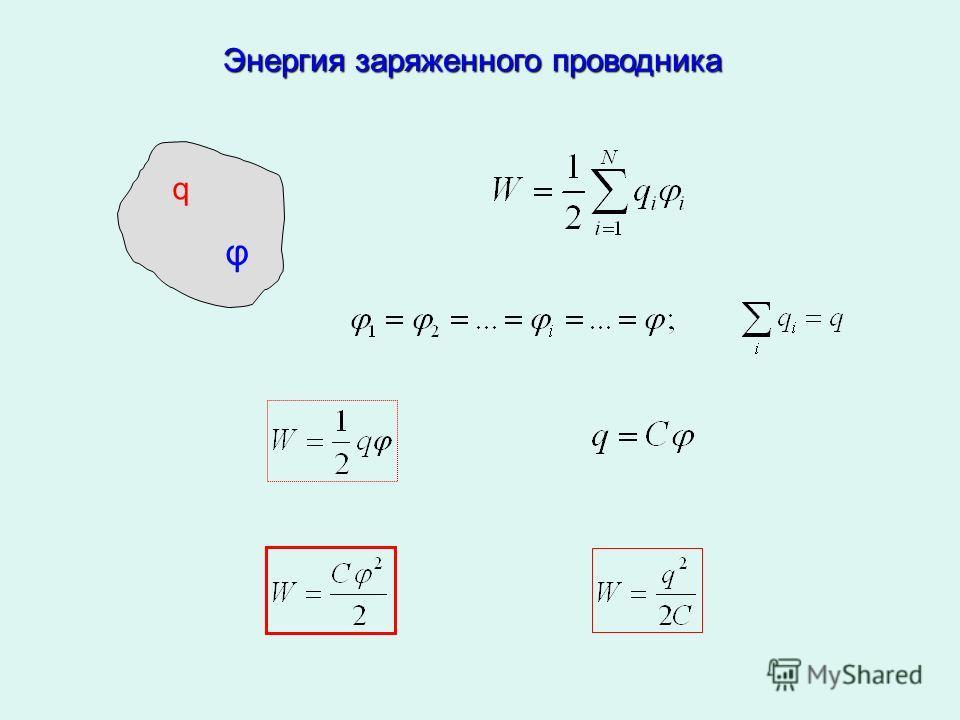 Энергия заряженного проводника q φ